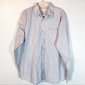 Michael Kors gray and white striped button down